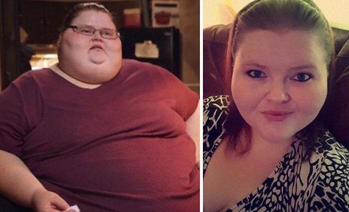 Эшли Данн-Братчер был 725 фунтов, она упала до 470 фунтов