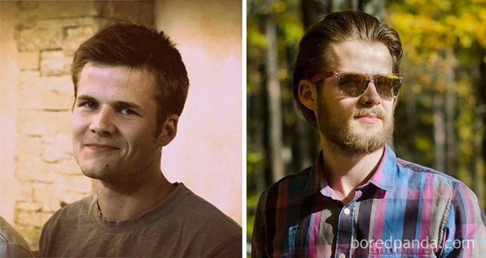 Мой парень до и после выращивания борода