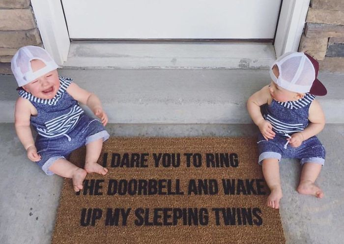 I Mean, Come On! So Cute! This Mat Is A Little Twist On The Original That I Did For A Customer With Twinzies! Link In Profile To Shop All Doormats!
