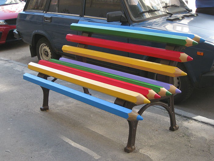 Bench Out Of Pencils In Kiev, Ukraine