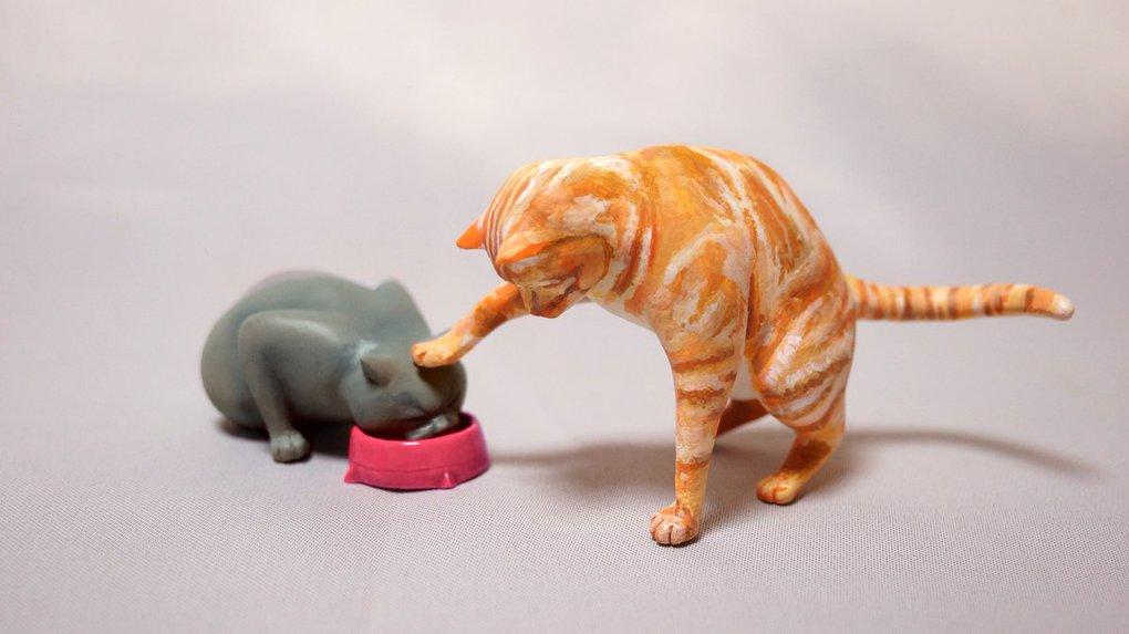 Японец превращает диковатые фотки котов в фигурки. Так как нормальные коты — прошлый век! 16