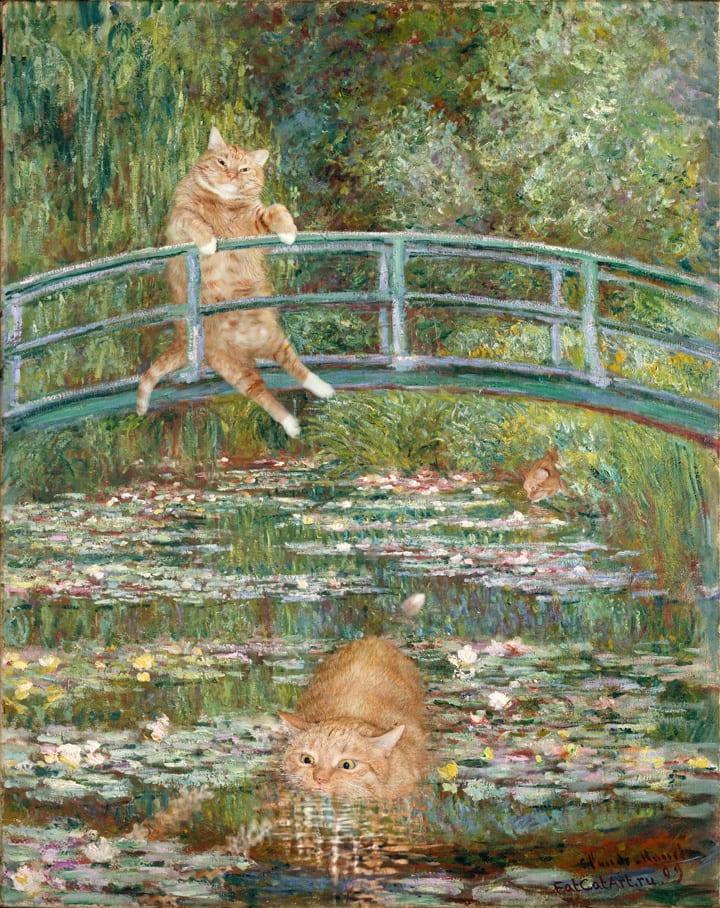 "<a href=""http://fatcatart.ru/2014/08/bathing-in-the-pond/"">Моне, Купание у моста с водяными лилиями</a>"