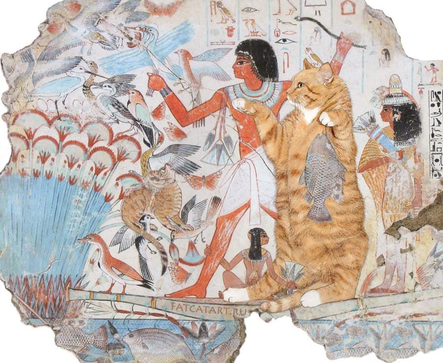 "<a href=""http://fatcatart.ru/2014/09/english-hunt-like-egyptian-cat/"">Охота на болоте. Гробница Небамуна, Фивы</a>"