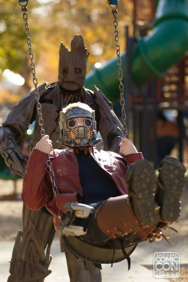 Star Lord and Groot at the playground