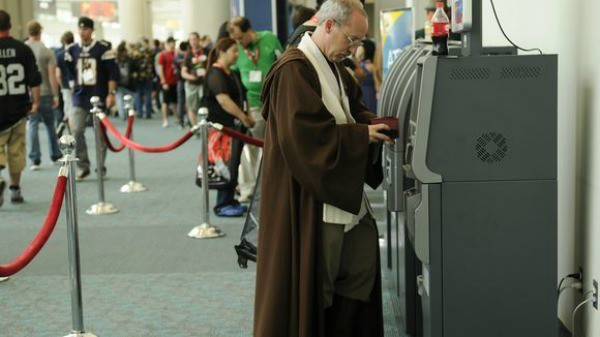 A Jedi getting cash at an ATM