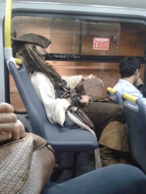 Jack Sparrow sleeping on a subway train