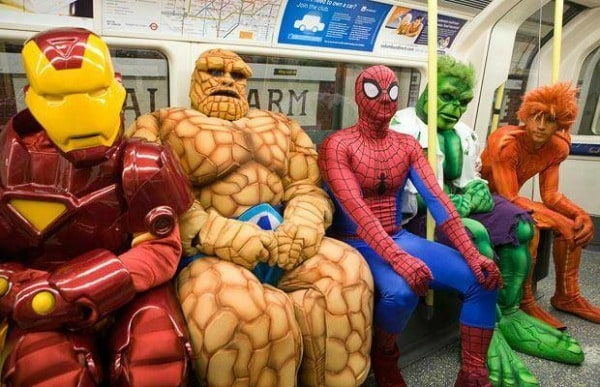 Avengers on the subway