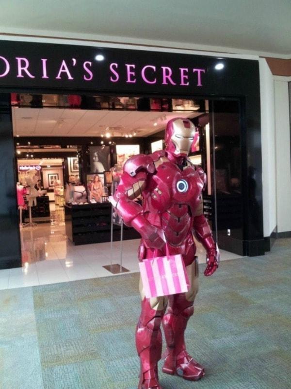 Iron Man shopping at Victoria