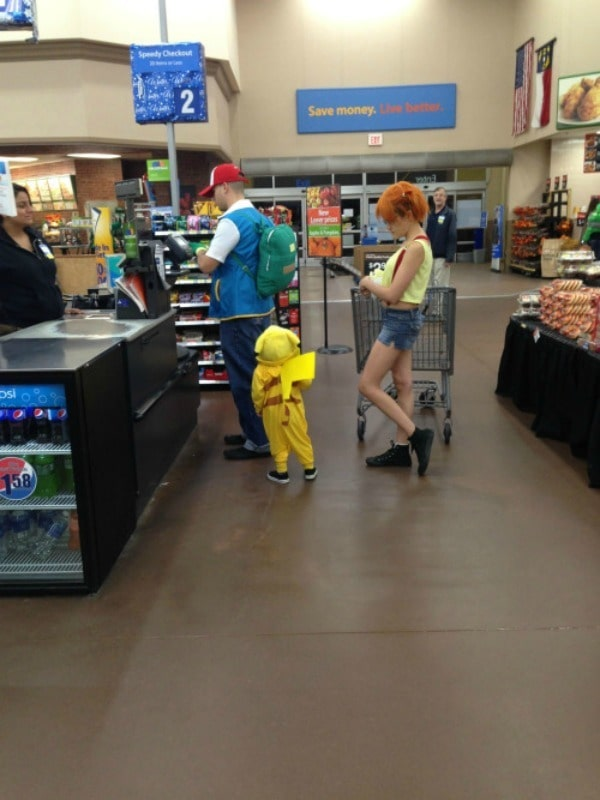 Pokemon checking out at the grocery store