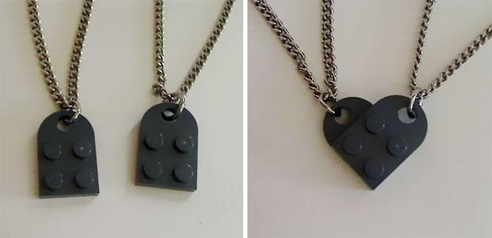 Lego Heart Necklace Set