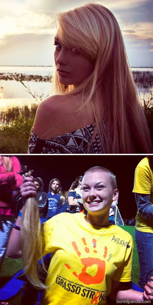My Friend Shaved Off All Her Gorgeous Blonde Hair In Support Of One Of The Teachers At Our School Whose 3 Year Old Son And 2 Year Old Daughter Both Have Cancer. She Is Beautiful Inside And Out