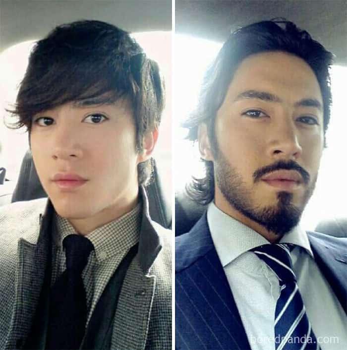 До и после выращивания борода
