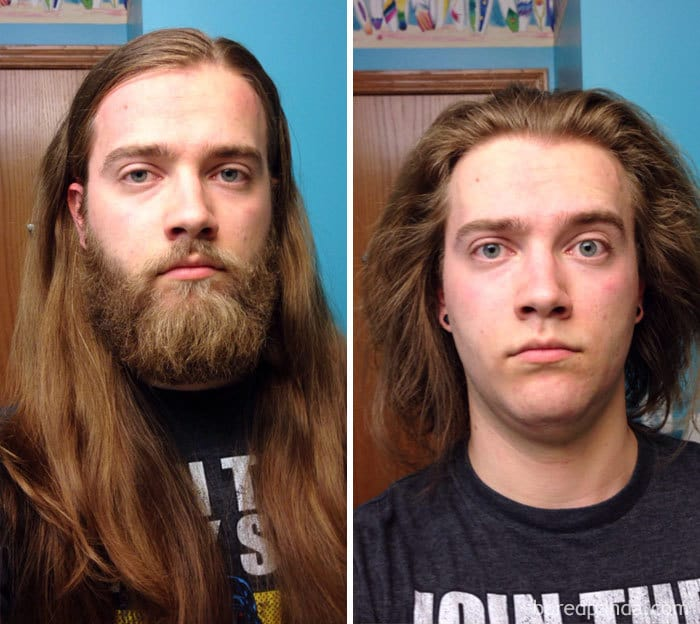 """Decided To Donate 10"""" Of My Hair To Locks Of Love. Shaved The Beard While I Was At It"""