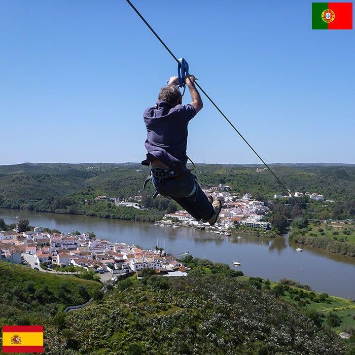 Канатная дорога, проходящая над границей Испании и Португалии.