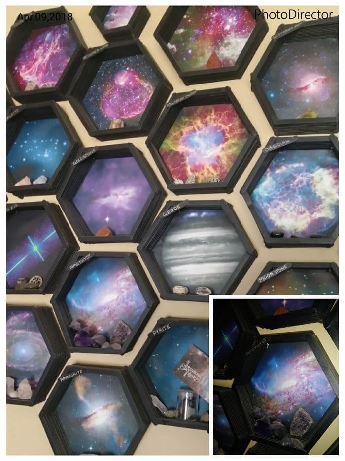 Моя рок-коллекция в сотовой вселенной, сделанной из палочек, красок и распечаток.