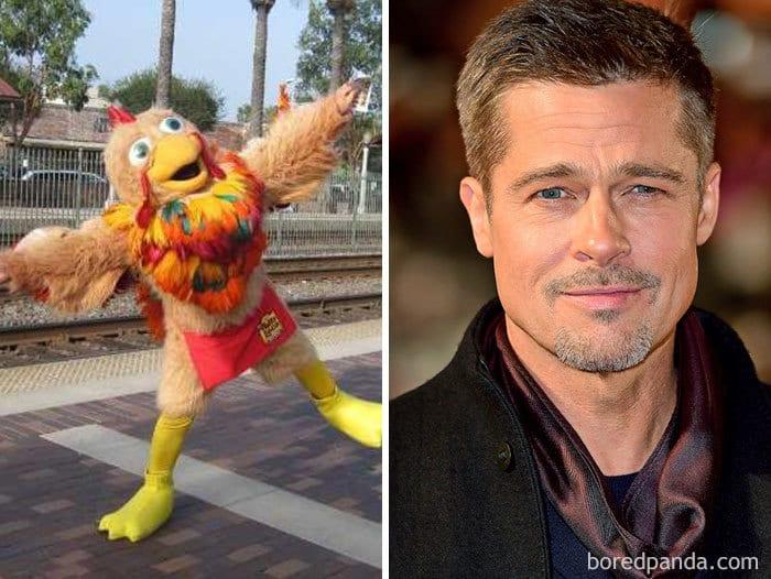 Брэд Питт привык одеваться как курица для ресторана El Pollo Loco в Голливуде
