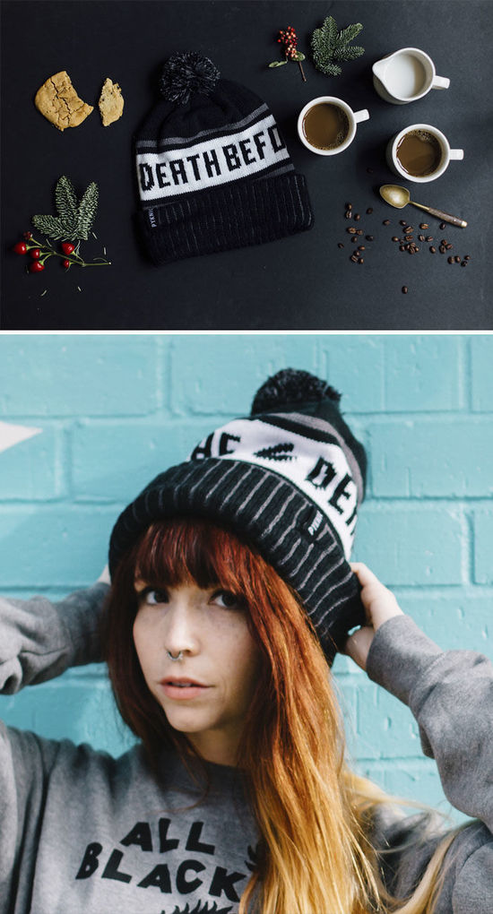 Death Before Decaf Coffee Cuffed Pom Knit Beanie Hat