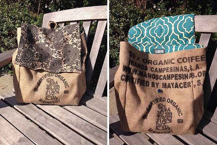 Upcycled Burlap Coffee Sack Backpack