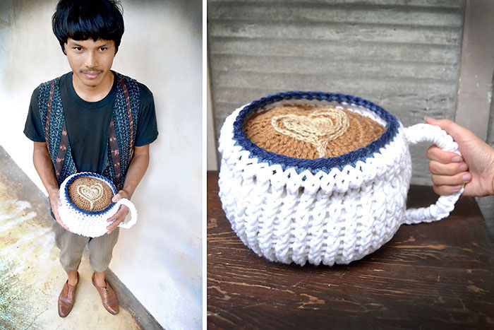 Knitted Coffee Latte Pillow