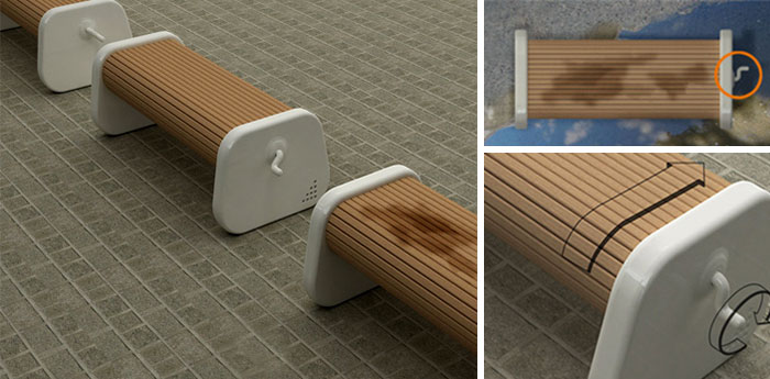Rotating Bench Keeps The Seat Dry After Rain