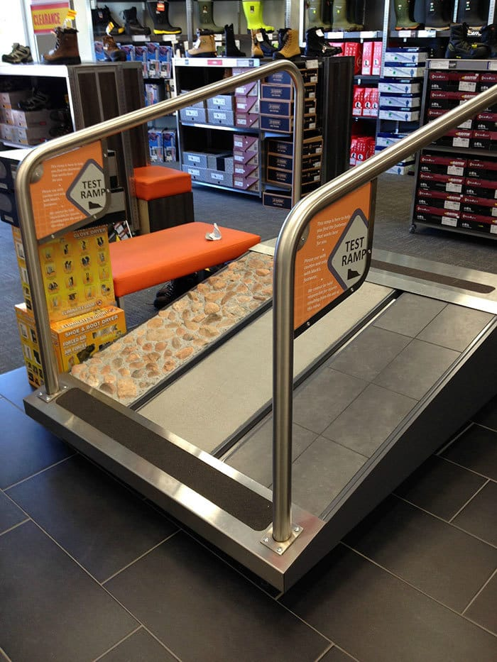 "This Store Has A ""Test Ramp"" So You Can Try Out Your Safety Boots On Different Surfaces"