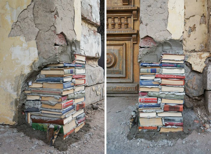 Russian Urban Interventionist Andrey Syaylev Fixed Library Walls With Old Books