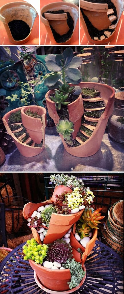 Fix Broken Flower Pots By Turning Them Into Diy Fairy Gardens