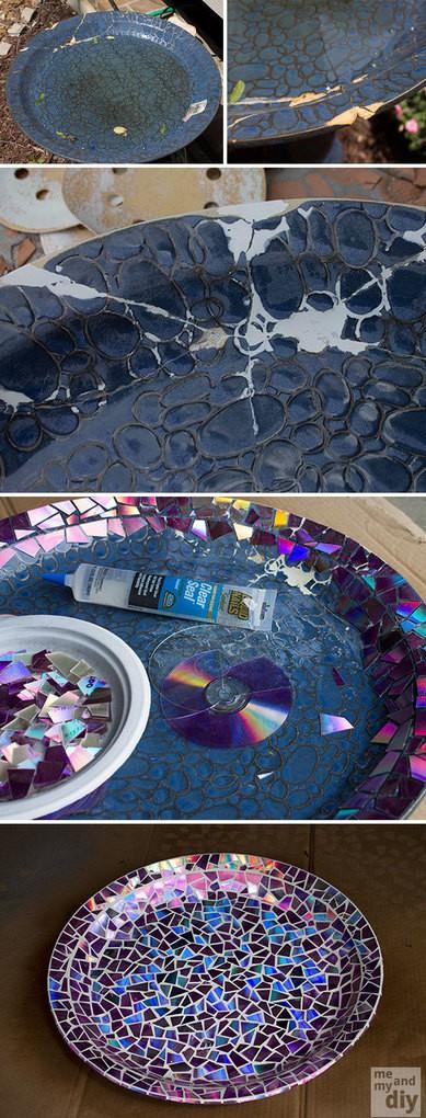Repair Broken Birdbath Using Recycled DVDs