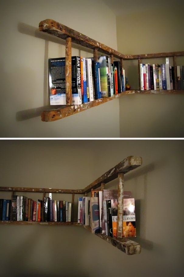 You Can Turn An Old Ladder Into A Bookshelf