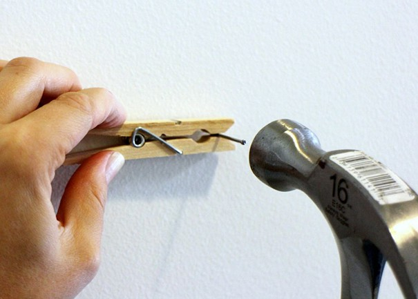 Use Clothespin To Hammer A Nail Safely