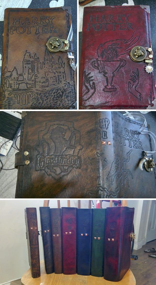 Я сделал индивидуальные кожаные обложки для каждого из книг о Гарри Поттере для рождения моей подруги
