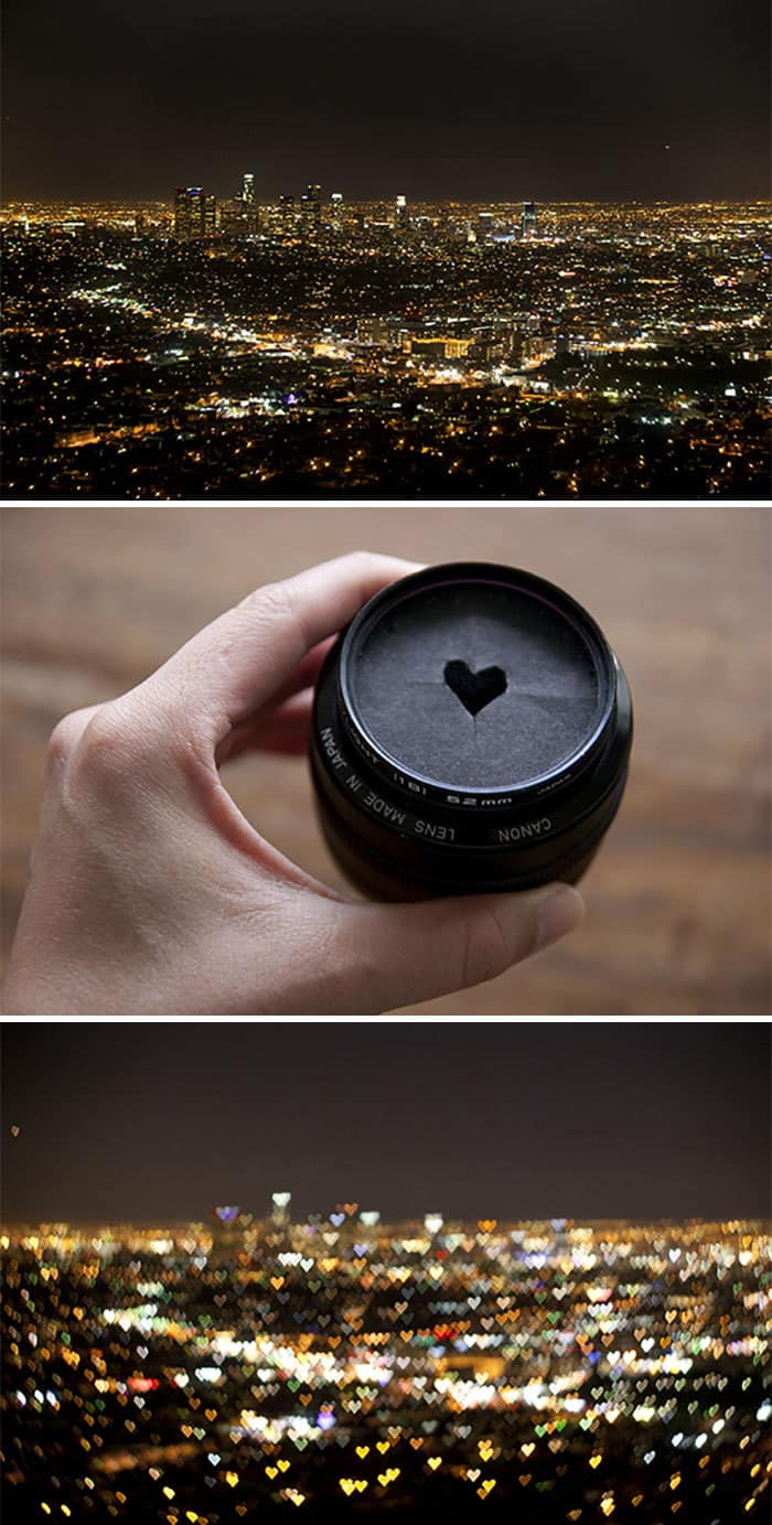 Cut Out A Heart Shape In A Cardboard For A Heart-Shaped Bokeh