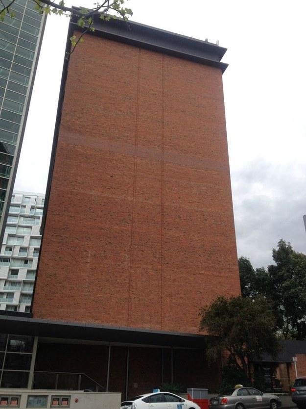 This wall missing a single brick: