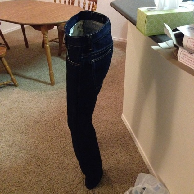 This stiff pair of jeans: