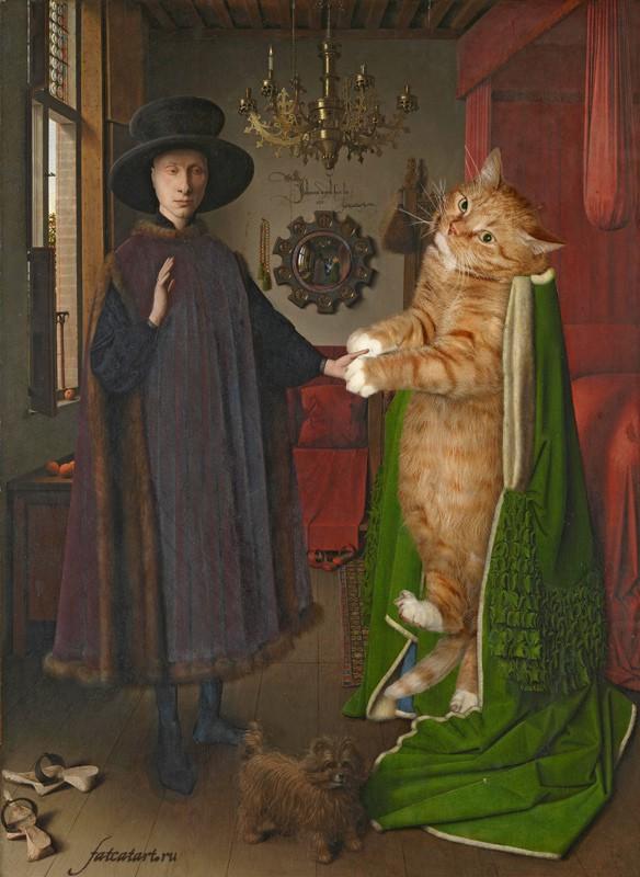 """<a href=""""http://fatcatart.ru/2012/05/chelovek-i-koshka/"""">Ян ван Эйк, Портрет четы Арнольфини</a>"""
