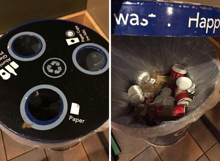Так же, как я подозревал в Starbucks - на каждом месте, где я работал, все сказали, что они перерабатывают. Нет.