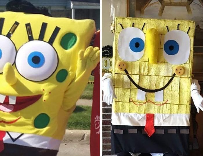 Семейный друг нанял SpongeBob для вечеринки по случаю дня рождения. Слева - что обещали, правильно - что появилось (человек, покрытый губками)