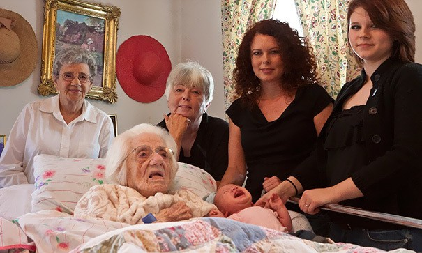 Six Generations Of Daughters: From Baby To 111-Year-Old Great, Great, Great Grandmother