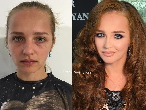2. Рыжая красотка до и после, до и после макияжа, макияж
