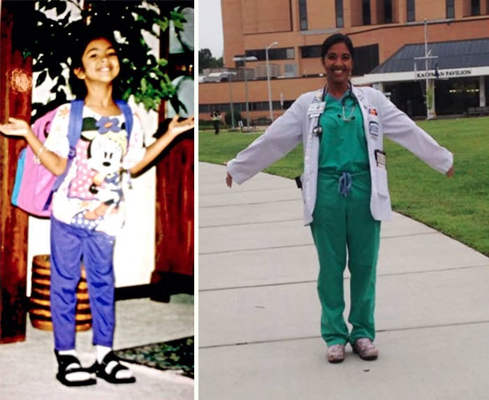 First Day Of First Grade Next To My Last First Day Of My Fourth Year Of Medical School - 20 Years Apart, But Just As Excited