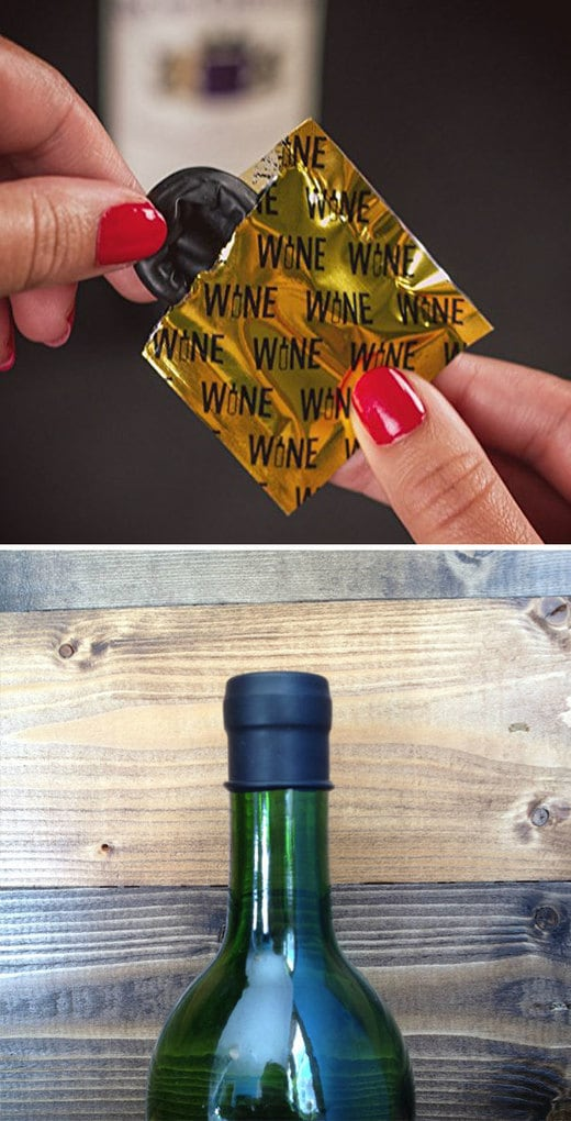 Wine Condoms That Help To Preserve Unfinished Bottle Of Wine