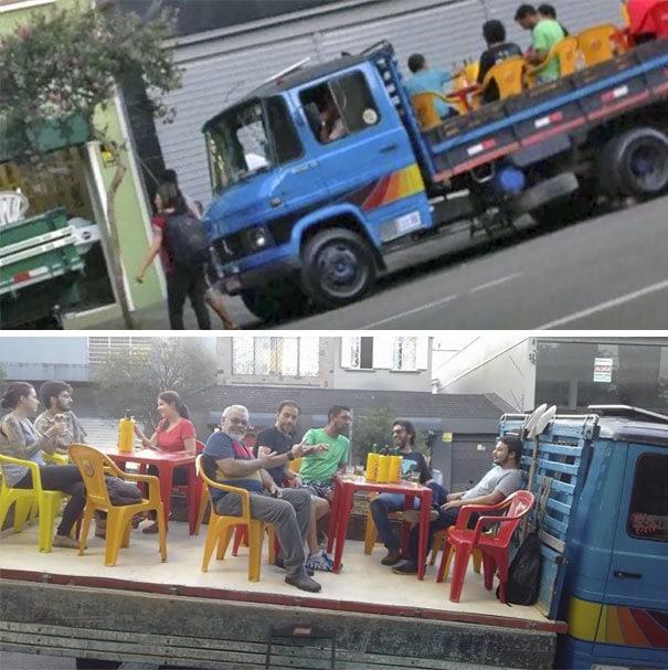 Мэр в Бразилии запретил владельцам баров от установки таблиц на тротуаре. Вот их решение