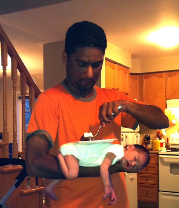 The Only Way My 3 Day-Old Daughter Would Fall Asleep. After Two Hours Of Carrying Her Around I Got Hungry