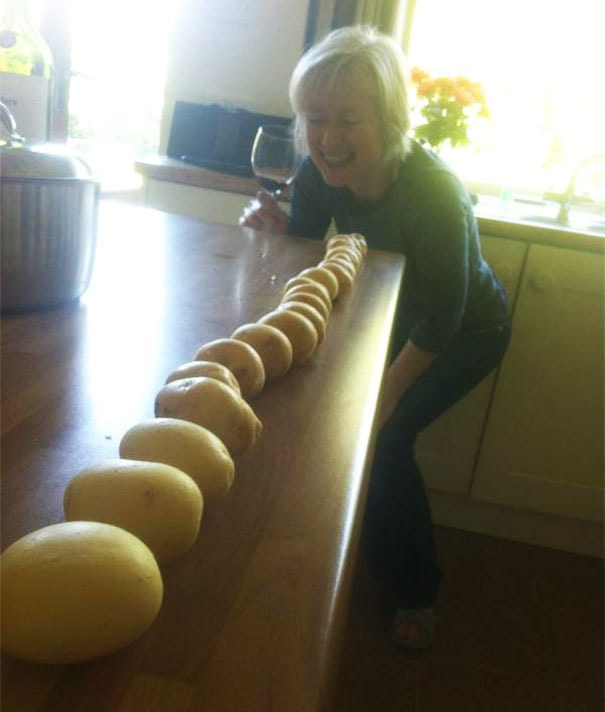 My Mother Is Drunk. I Walked In To The Kitchen To Find Her Having Aligned The Potatoes In Size Order