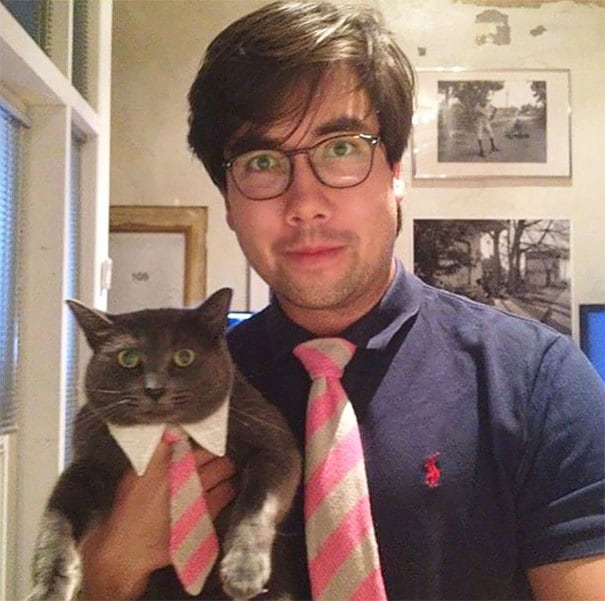 So For My Bday My Mom Made Matching Ties For Me And My Cat
