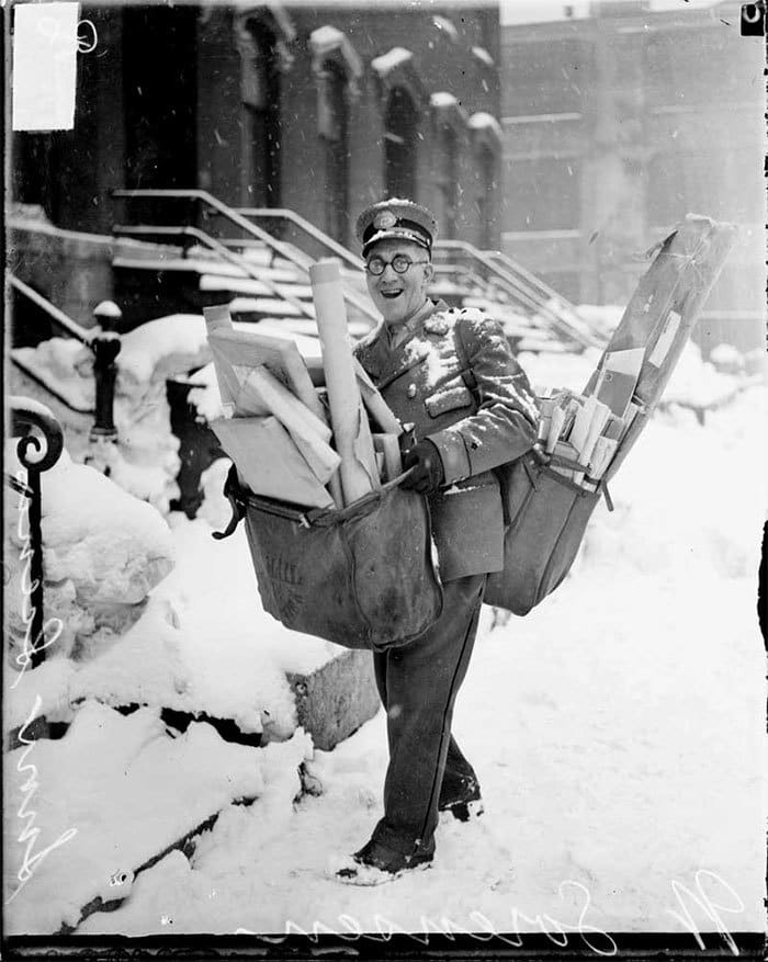 Mailman Poses With His Heavy Load Of Christmas Mail And Parcels, Chicago, 1929