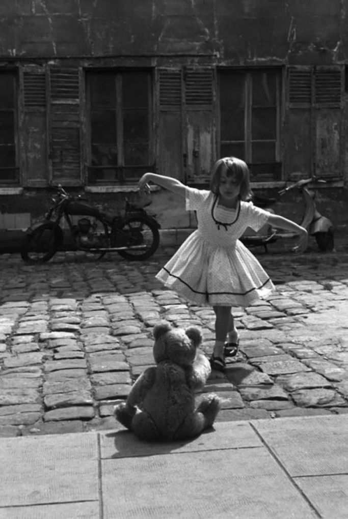 Girl Dancing In Front Of Her Teddy Bear, Paris, 1961