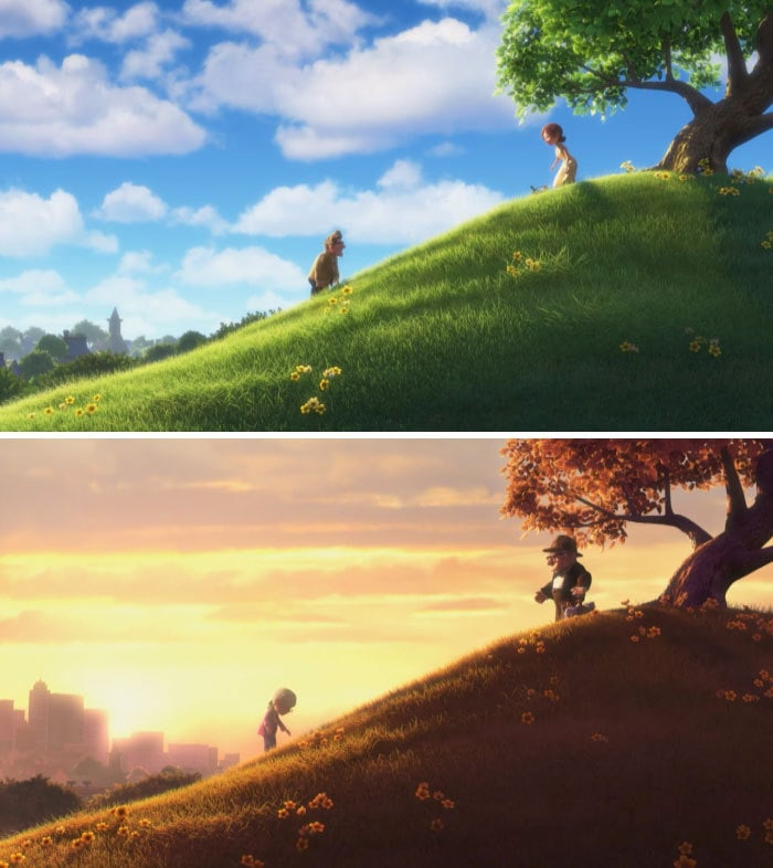 "In ""Up"" (2009) The Town Buildings Develop Over The Years"