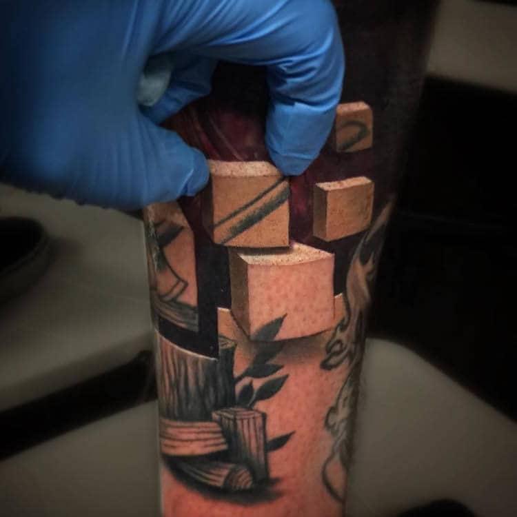 Jesse Rix Optical Illusion Art Tattoo