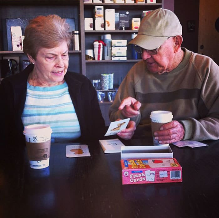 I Was Sitting Next To This Couple At Starbucks This Morning, This Man John Was Teaching Linda The Alphabet. He Told Us That She Lost Her Memory And Was Re-Learning How To Read. Patience, Love, And Understanding At It
